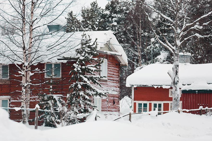 Promenad i ett snöigt Boden