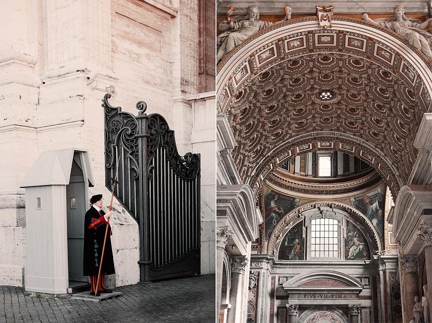 Schweizgardet som är Vatikanstatens militär - Inuti Peterskyrkan