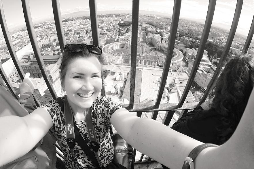 Obligatorisk selfie på toppen av Peterskyrkan